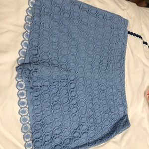 Baby Blue Lace Crochet Shorts